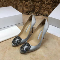 Wholesale navy blue wedding pumps resale online - 2020 Designer Party Wedding Shoes Bride Women Ladies Sandals Fashion Sexy Dress Shoes Pointed Toe High Heels Leather Glitter Pumps