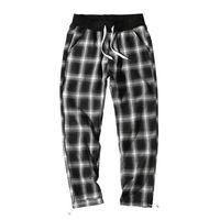 erkek sıcak pantolonlar bedava toptan satış-Erkek Ins Moda Sıcak Satmak Ekose Pantolon Mevsim Rahat Sokak Erkek Pantolon Breathble Gevşek Ücretsiz İpli Giyim