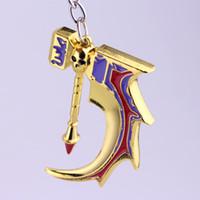 dota anhänger großhandel-Game Dota 2 Keychain Gold Metall Basher Hammer Anhänger Chaveiro Keyrings Herrenschmuck