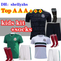 Wholesale children soccer jerseys resale online - Kids kits Mexico Soccer Jersey Away black CHICHARITO H LOZANO youth child football jerseys shirts