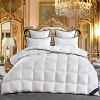 Wholesale gray bedspread king online - Goose Comforter King Queen Full Twin size Goose Down White Comforter Bedding set Bedspread Duvet Throw Blanket Bed Quilt edredon colcha