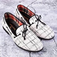 белая лодка обувь мужчины оптовых-WEISHIMIBANG Designer Luxury Mens Loafer Shoes Round Toe Breathable Spring Fall Man Tide Shoes White Lace Up Boat Leisure