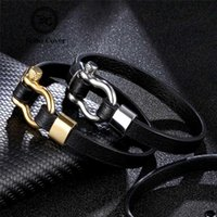 Wholesale stainless steel shackle bracelet resale online - Simple Anchor Leather Bracelets Men Women Black Silver Gold Stainless Steel Shackles Clasp Bangle homme Wristband Couple Jewelry