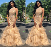 Wholesale red prom dress layered resale online - New Elegant Halter Organza Mermaid Long Prom Dresses Beaded Stones Layered Ruffles Floor Length Formal Party Evening Dresses BC1667