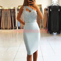 Wholesale pink one shoulder cocktail dresses resale online - Trendy Lace Sheath Homecoming Dresses One Shoulder Beads Arabic Juniors Occasion Dress Knee Length Short Prom Dress Cocktail Party Club Wear
