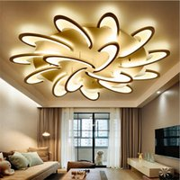 Wholesale white modern ceiling lamps resale online - White Black Modern Led Ceiling Lights For Living Room Bedroom Acrylic Ceiling Lamp Lustres Home Chandeliers Lighting Fixtures