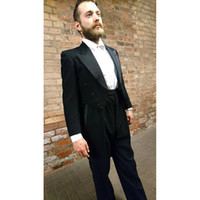 chaqueta de esmoquin colas negro al por mayor-Black Tail Escudo largo Traje de escenario Traje de hombre 2018 Trajes de hombre hechos a medida Trajes de boda Terno 2pcs (chaqueta + pantalón) Trajes de hombre delgado