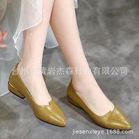 sapatos asakuchi venda por atacado-Código Attractive2019 Irá Flat Woman Leather Mom Com Trabalho Asakuchi Único Meia Idade Sapatos Femininos Doug Shoe