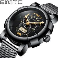 Wholesale stylish male glasses resale online - Stylish Men Skull Watch Punk D Pattern Gold Watch Men Rhinestone Stainless Steel Fashion Casual Male Clock Waterproof GM244