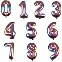 Wholesale numbered helium balloons resale online - 32 Inch Helium Air Balloon Number Gradient Color Foil Number Balloons Birthday Party Decoration Baby Shower Celebration Balloon KKA6928