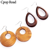 Wholesale pendent jewelry resale online - Cpop New Geometric Wood Alloy Earring Circular Hollow Pendent Earrings Fashion Jewelry Women Accessories Hot Sale Girl Gift