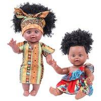 bebek güzel bebek toptan satış-Yenidoğan Afrika Siyah Bebek 35cm 14inch Güzel Gerçek Reborn Looking Silikon 14 '' Tam Vücut Sevimli Yumuşak Baby Alive Bebek İçin Kızlar Boys Kuklalar