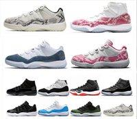 sapatos de basquete rosa para mulheres venda por atacado-Desenhador Rosa Cinza Snakeskin 11 s Das Mulheres Dos Homens Tênis De Basquete 11 Criada Marinha Concord 45 Cap e Vestido Mens Tênis Esportivos Tamanho 36-47