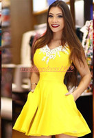 Wholesale make girls tutu resale online - Modest Satin Yellow Homecoming Dresses Lace V Neck Arabic Party Graduation Cocktail Club Wear African Prom Dress Plus Size Girl Tutu