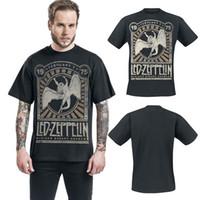 jardines de algodón al por mayor-Led Zeppelin Madison Square Garden 1975 Verano Negro 100% Algodón Diseñador de moda para hombre Camiseta Top de manga corta S-3XL