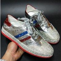 zapatos de charol hip hop al por mayor-2019 nuevos zapatos casuales de charol de alta calidad triple oro blanco plata rayas azules diseño suelas rojas zapatos de skate zapatos planos de hip hop