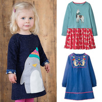 Wholesale black unicorn bottles for sale - Group buy Girls Long Sleeve Dresses Unicorn Striped Printed Pure Cotton A Line Dresses Kids Designer Clothes Girls Autumn Winter Kids Clothes T