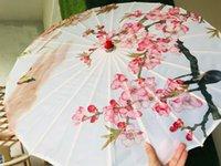 çini dekoratif toptan satış-Düğün dekoratif şemsiye Çin japonya şemsiye Boyama uzun sap bambu ahşap bambu güneşlik şemsiye