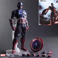 hareketli bebek mafsalları toptan satış-Film Şekil 28 CM Avengers Kaptan Amerika 1/6 Ortak hareketli PVC Action Figure Modeli Koleksiyon Oyuncak bebek lol