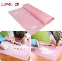 tapis de fondant en silicone achat en gros de-Plaque de cuisson en silicone avec cadran 50 * 40cm tapis de pâte à pétrir anti-adhésifs pour pâtisserie à fondue pour outils à cuire au four silpat mat