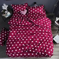 kuş yatak takımları toptan satış-Ev yatak 4 adet düz levha seti kırmızı kalp çarşaf seti sac yastık kılıfı kapak Sevimli kuş çocuk yatak örtüsü yaprak kapak