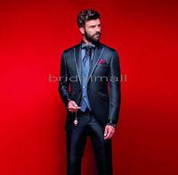tek parça resmi pantolon kıyafeti toptan satış-Koyu Lacivert En İyi Erkek Takım Elbise Düğün Slim Fit Bir Düğme Groomsmen Smokin Iki Adet İş Örgün Düğün Suit (Ceket + Pantolon + yelek)