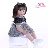 Wholesale education child baby dolls for sale - Group buy New CM reborn toddler baby girl doll with short dark brown hair education toy Christmas Gift for children