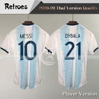 Wholesale soccer teams resale online - Player Version Copa América Argentina home Soccer Jerseys MESSI DYBALA Soccer Shirt National team football Shirt