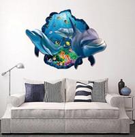 etiquetas da parede do oceano dos desenhos animados venda por atacado-Adesivos de parede por atacado golfinho 3D estéreo adesivos de parede sala de estar adesivos de parede à prova d 'água oceano casa de moda dos desenhos animados