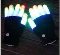Wholesale warmest hunting gloves resale online - halloween kids gloves finger glow gloves nylon spandex knit warm magic glove children flash finger claw glove mitten festival decoration