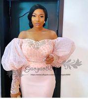 elegante nigerianische kleider großhandel-2019 Nigerianische Spitze Langarm Abendkleider weg von der Schulter Hauchhülse elegante Perlen afrikanische arabische formale Promi Prom Party Kleider
