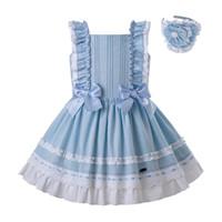 5a3fb6fcd646 Pettigirl New Blue Summer kids summer clothes girls Pleated A line Boutique Kids  Dress Sequre Collar Girls Clothing G-DMGD201-C143