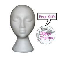 Wholesale female hat hair resale online - Female Styrofoam Mannequin Manikin Head Model Foam Wig Hair Hat Glasses Display