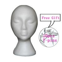 cabeças femininas manequins venda por atacado-Feminino isopor manequim manequim cabeça modelo espuma peruca cabelo chapéu óculos de exibição