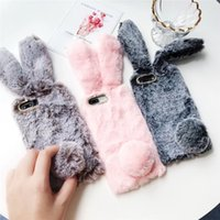 Wholesale rabbit ears cell phone for sale – best Luxury Designer Lovely Bunny Rabbit Fur Hair Plush Fuzzy Fluffy Big Ear Case for IPhone X XS s Plus Cell Phone Cover PC