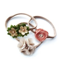 kız 3adet çiçek dantel toptan satış-3 adet / takım Simüle-inci Şerit Dantel Çiçek Bandı Bebek Kız Bantlar Elastik Hairband
