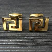 manschettenknöpfe großhandel-Heißer Verkauf Luxus Männer Hochzeit Hemd Manschettenknöpfe für Silber / Golden Kupfer Stempeln Manschettenknopf mit Mode Mann Metall Manschettenknopf Geschenk