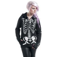 zipper hoodies skulls venda por atacado-Plus Size Mulheres Gothic Punk Moletom Com Capuz Camisola de Impressão Esqueleto Do Esqueleto de Osso Quadro de Manga Longa Com Capuz Zipper Traje de Halloween casaco