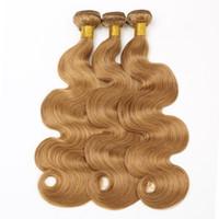 kraliçe bakire remi perulu saç toptan satış-RXY Toptan # 27 Vücut Dalga Demetleri Sarışın Brezilyalı Saç Örgü Demetleri 3 Adet / torba Renkli İnsan Saç Demetleri Brezilyalı Vücut dalga