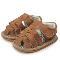 Baby Shoes Boys Solid Color Sandals Shoes Cross-tied Casual Sneaker Anti-slip Soft Leather For Boys Toddler Summer