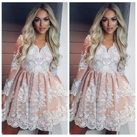 Wholesale pleated mini for sale - V Neck Lace Appliques Long Sleeves Short Homecoming Dresses Modest Customized Junior Graduations Party Gowns Cheap Girls Party Gowns