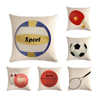 Wholesale bowling equipment resale online - Sports Equipment Pillow Cover Tennis Racket Basketball bowling Home Decor Cushions Cover Decorative Throw Pillowcase ZY621