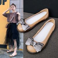 zapatos asakuchi al por mayor-Crystal2019 Cowhide Layer Head Fairy Asakuchi Shoes Piel Genuina Ventilación Small Single Soft Sole Of Shoes