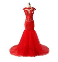 moda vestido real china venda por atacado-Vermelho maduro Sexy frisado BeiJing moda vestido de noite made in China Alta qualidade DuBai Trumpet sereia vestidos vestido de noite para mulheres