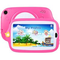 kinder rosa tabletten großhandel-Kinder Bildung Tablet PC 7,0 Zoll 1 GB + 8 GB Android 4.4 Allwinner A33 Quad Core Wi-Fi Bluetooth mit Halter Silikonhülle (Pink)