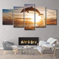 pintura al óleo libre del océano al por mayor-5 unidades HD Impreso Dolphin Ocean Seascape Pintura al óleo Lienzo Arte Decoración de la habitación Imprimir Cartel Imagen Lienzo Envío gratis