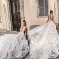 Wholesale lace modern sexy wedding dresses for sale - Group buy Elihav Sasson Wedding Dresses Plunging Neck Backless Wedding Bridal Gowns Appliqued Sweep Train Castle Beach Wedding Dress Custom Made