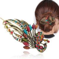 Wholesale wedding peacock hair clip for sale - Group buy Earofcorn Exquisite Retro Style Rhinestone Peacock Hair Pin Hair Fork Phoenix Duckbill Clip Hair Jewelry