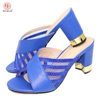 sandalias italianas mujeres al por mayor-Los zapatos del partido de Nigeria italiana color azul, sin zapatos empaqueta el sistema boda sandalias de moda africana no emparejan fijaron a las mujeres