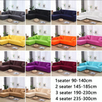 Wholesale sofa sets for resale online - 2pcs solid color Sofa Cover Set Couch Cover Elastic Corner Sofa Covers for Living Room Stretch L Shaped Chaise Longue Slipcover